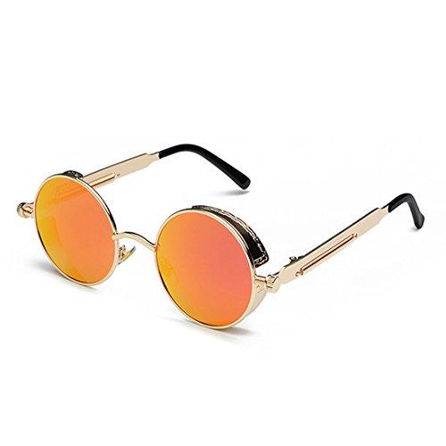 Marco de Gafas sol moda retro Dorado de metal Huicai de sol Rojo de de de Gafas círculo color Lente HpdwqWZY
