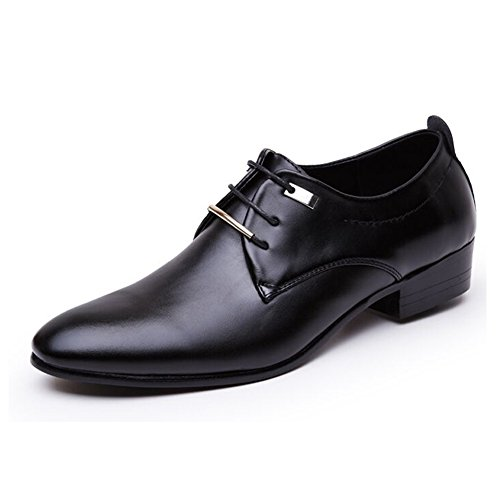 Huanyoo Men's Casual Pointed-toe Business Oxfords Lace Up Dress Shoes