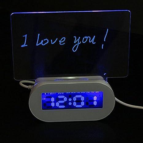 Saver LED Fluorescente Foro luminoso reloj de alarma de 4 puertos hub usb: Amazon.es: Electrónica