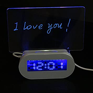 Saver LED Fluorescente Foro luminoso reloj de alarma de 4 ...