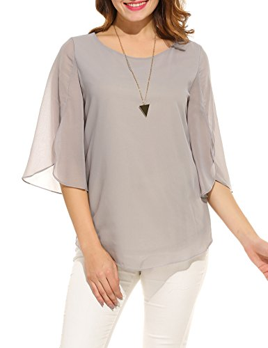 (ACEVOG Women's Casual Chiffon Blouse Scoop Neck 3/4 Sleeve Top Shirts (Grey XL))