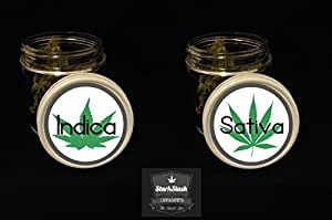 Indica & Sativa Stash Jar Set-StarkStash Cannatainer-Herb-Concentrate Jar - Airtight, Smell proof stash jar (The Bitty)