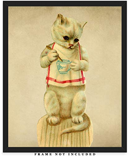 Vintage Victorian Cat Wall Art Print: Unique Room Decor for Boys, Men, Girls & Women - (8x10) Unframed Picture - Great Gift Idea for Cat Lovers!