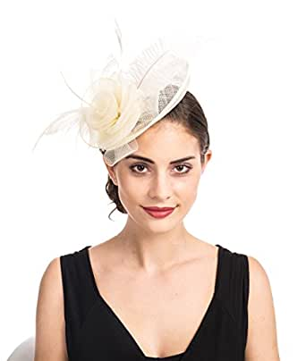 SAFERIN Fascinators Hat Sinamay Flower Mesh Feathers on a Headband and a Clip Tea Party Headwear for Girls and Women (Ta4-sinamay Feather Beige)