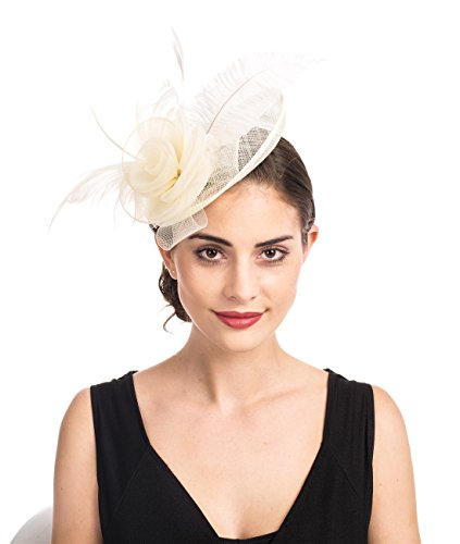- SAFERIN Fascinators Hat Sinamay Flower Mesh Feathers on a Headband and a Clip Tea Party Headwear for Girls and Women (Ta4-sinamay Feather Beige)