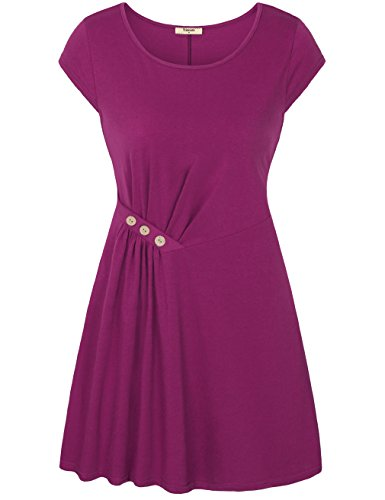 Timeson Women's Cap Sleeve Round Neck Side-Ruched A Line Tunic Dress