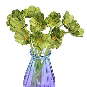 A Cup of Tea 10Pcs Modern Décor Green Poppy Flowers Artificial Floral Centerpieces Garland Fake Flores Artificiales para Decoracion Decorativas Faix Faux Plantas Home Wedding Decorations Real Touch 20