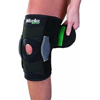 Mueller Sports Medicine Green Adjustable Hinged Knee Brace, Black/Green, One Size Fits Most