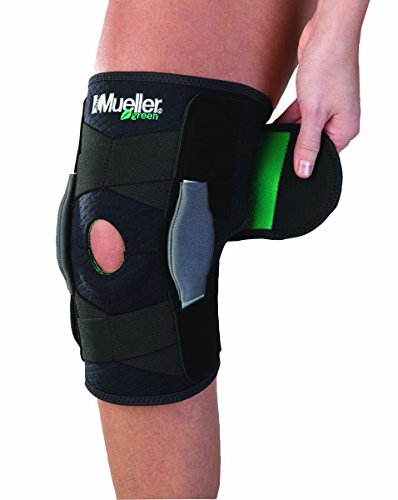 Mueller Sports Medicine Green Adjustable Hinged Knee Brace, Black/Green, One Size Fits Most