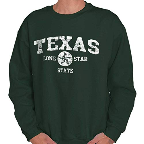 Texas State Vintage EST Retro Hometown Fleece Sweatshirt Forest Green