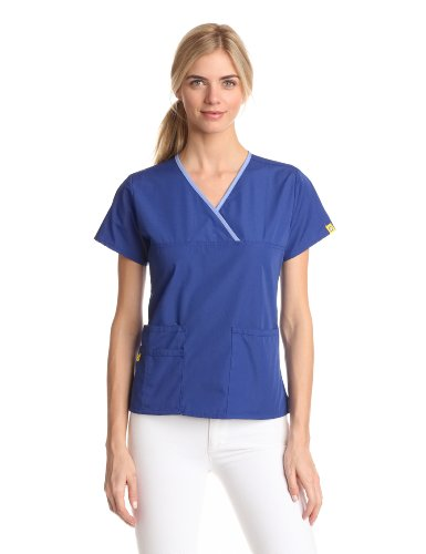 WonderWink Women's Scrubs Charlie 5 Pocket Y-Neck Wrap Top, Galaxy Blue, XX-Small
