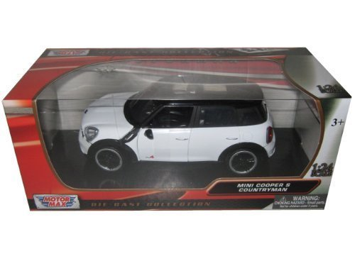 Motormax Mini Cooper S Countryman with Sunroof 1/24 Scale Diecast Model Car White