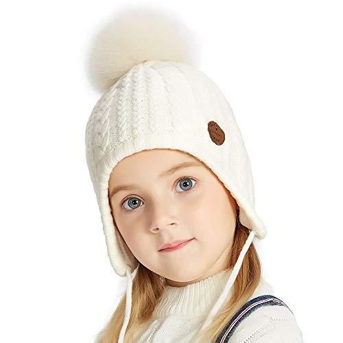 SOMALER Toddler Kids Winter Earflap Beanie Hat Boy Girl Fur Pompom Knit (Knit Earflap Hat)