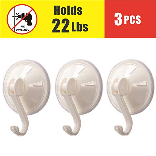 Heavy Duty Vacuum Suction Cup Hooks Powerful Bathroom Kitchen Wall Suckers Hooks,Removable (Suction Hooks 3 Pcs)