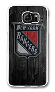 Samsung Galaxy S6 Case, Hard Crystal Clear Transparent Plastic Bumper Case for Samsung Galaxy S6 with Back Photo Wood NY Rangers
