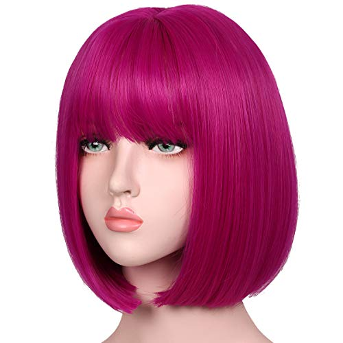 ColorGround Short Straight Natural Bob Hair Wig for Women (Hot Pink) -