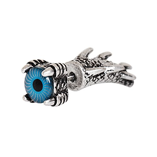 Amelia Fashion 16 Gauge Blue Eyed Dragon Claw Fake Taper 316L Surgical Stainelss Steel (Sold Individually) (Black Plated Steel) ()