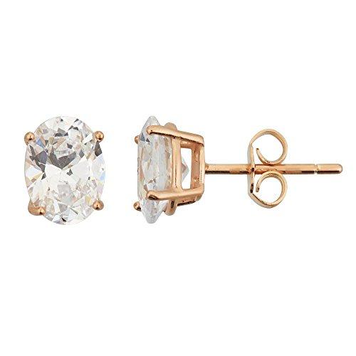 Triple Oval Earrings (Sterling Silver 4x6mm AAA Oval Earrings (rose-gold-and-sterling-silver))
