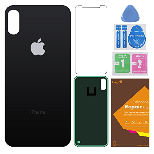 CrazyFire Compatible iPhone X Back Glass Cover Battery Door Replacement with Adhesive and Tool Kit 5.8 Inch(Black)