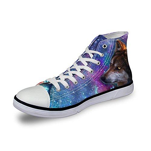 FÜR U DESIGNS Leichte Herren High Top Canvas Schuhe Universum Wolf Drucke Sneakers Wolf-3