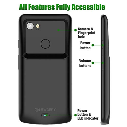 pretty nice f1c5d 17d7b NEWDERY Google Pixel 2 XL Battery Case, Pixel 2 XL 5200mAh Charger Case  Backup Charging Case with LED Indicator, USB Type C Compatible Pixel 2 XL  ...
