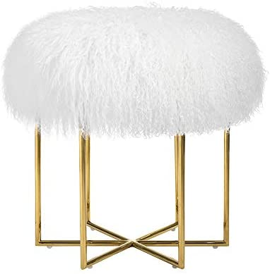 MEXIYA Bailey White Real Sheepskin Mongolian Fur Ottoman with Gold Finish Stainless Steel Frame