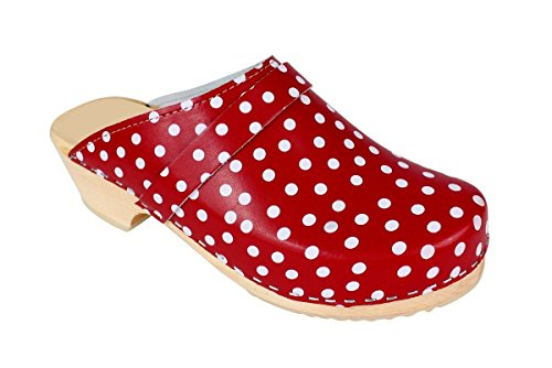 Lotta From Stockholm Sabot Suédois en cuir polka dot rouge femme