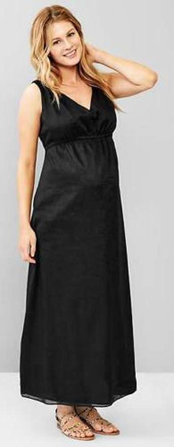 87e591fddf62b GAP Maternity Black V-Neck Woven Ramie Maxi Sun Dress Size 10 at Amazon  Women's Clothing store:
