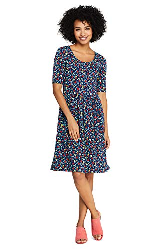 Lands' End Women's Floral Short Sleeve Fit and Flare Dress Medium Deep Sea Ditsy Floral from Lands' End