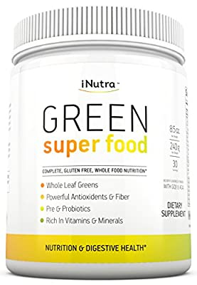 iNutra Green Super Food Dietary Supplement - Gluten Free, Vegan Whole Food Nutrition - Powerful Antioxidants and Fibers - Rich in Vitamins, Minerals and Probiotics