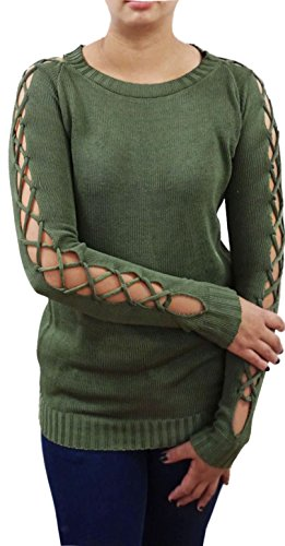 (Serendipity Juniors' Jersey Pullover with lace-up Sleeves (X-Large, Olive))