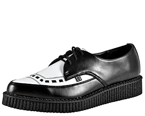 T.U.K. Shoes A8140 Unisex-Adult Creepers, Leather Pointed Creepers, Black/White - US: Men 12 / Women 14