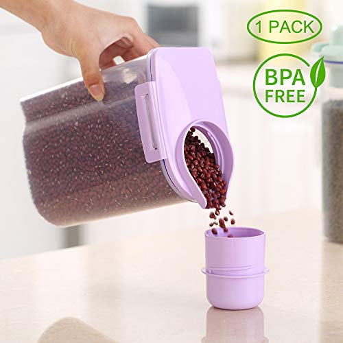 (Ansee Cereal Container Dog Food Storage Containers with Airtight Design Pour Spout Measuring Cup BPA-Free Dry Food Cereal Dispenser for Flour Rice Snacks (1 Pack Purple))