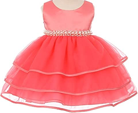 Little Baby Girls' Sparkle Pearl Beading Waistline Flowers Girls Dresses Coral XL (C11B3) - Length Beaded Satin