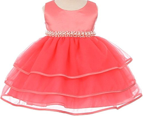 Little Baby Girls' Sparkle Pearl Beading Waistline Flowers Girls Dresses Coral XL (C11B3)