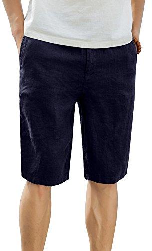 (utcoco Men's Summer Draw-String Elastic Waist Straight Fit Linen Beach Shorts (X-Small, Navy)