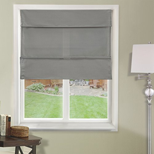 Chicology Cordless Magnetic Roman Shades / Window Blind Fabric Curtain Drape, Light Filtering, Privacy - Daily Grey, 27