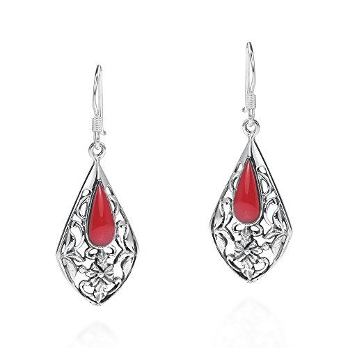 Vintage Teardrop Red Reconstructed Coral Floral Vine .925 Sterling Silver Earrings 16x12mm Sterling Silver Oval Box