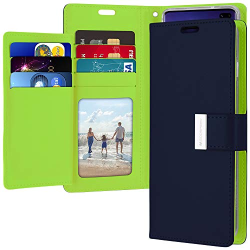 Galaxy S10 Plus Wallet Case, Goospery Rich Diary [Extra Card Slots] PU Leather Flip Cover (Navy) S10P-RIC-NVY