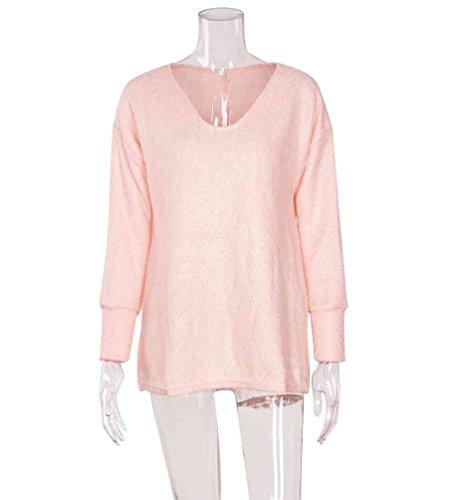 Dicker Kragen Rosa Casual Slim Strickpullover Pullover Reine Farbe Damen Zhiyuanan Sweater Langarm V Winter