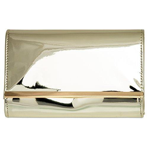CASPAR TA378 Sac à main clutch enveloppe élégant pour femme - Pochette de soirée effet laqué métallisé avec longue chaînette Doré