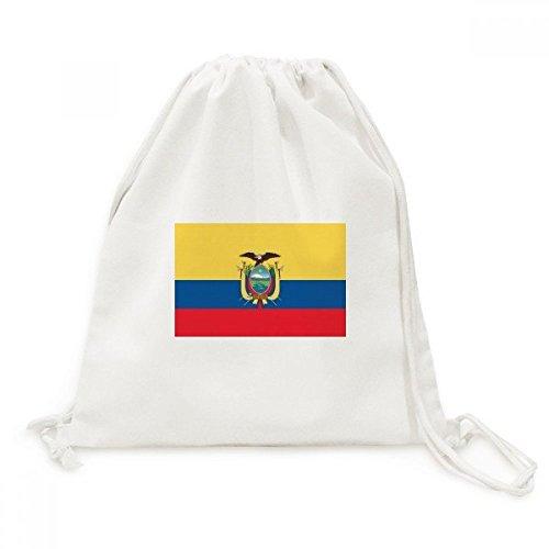 - Ecuador National Flag South America Country Canvas Drawstring Backpack Travel Shopping Bags
