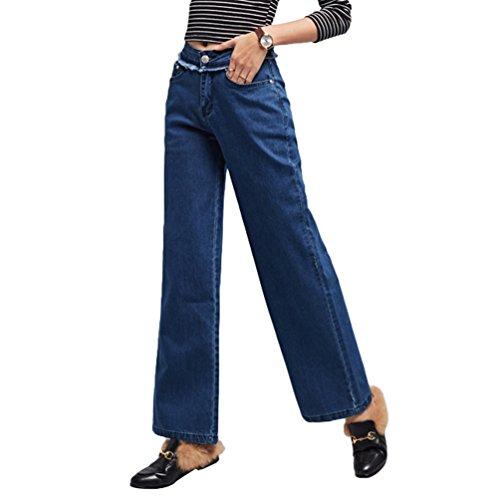 Tookang Mujeres Sin Estiramiento Vaqueros Borla de Pierna Ancha Cintura Elástica Casuales Pantalones Evasé de Mezclilla Azul