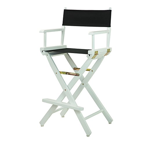 Casual Home Director s Chair ,White Frame Black Canvas,30 – Bar Height