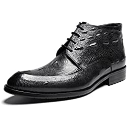 Zorgen Mens Boots Genuine Leather Round Toe Embossed Leather Formal Dress Boots