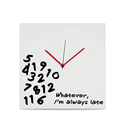 "KOVOT ""I'm Always Late"" Wall Clock - 12"" x 12"" - Wall Clock With Text ""Whatever, I'm Always Late"" Makes A Great Gift For Friends, Family, Or Coworkers - Especially Those That For Some Reason Can Not Show Up On Time Base Constructed Of Quality MDF Wood, With Metal Time Hands - wall-clocks, living-room-decor, living-room - 41F%2BLa5qpzL. SS400  -"