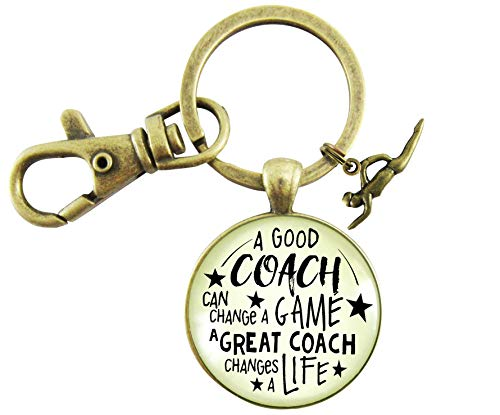 (Swim Coaching Keychain A Great Coach Changes A Life Quote Thank You Swimming Instructor Appreciation Gifts)