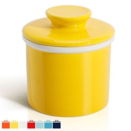 Sweese 3112 Porcelain Butter Keeper Crock - French Butter Dish - No More Hard Butter - Perfect Spreadable Consistency, Yellow