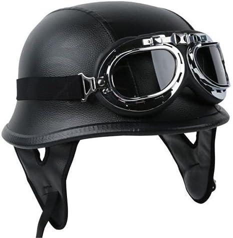 TCMT Dot Adult German Style Carbon Fiber WWII Black Half Helmet Motorcycle Chopper Cruiser Biker Helmet M