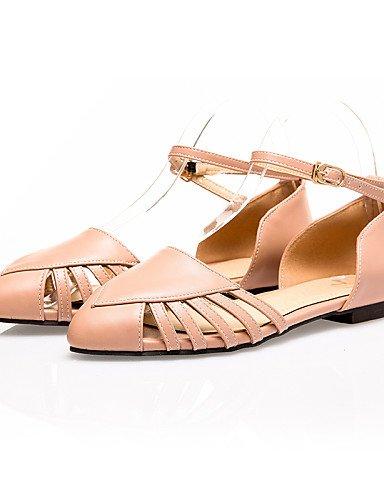 LFNLYX Zapatos de mujer-Tacón Plano-Comfort / D'Orsay y Dos Piezas / Puntiagudos-Sandalias-Exterior / Vestido / Casual-PU-Negro / Blanco / White